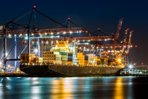 Container Ship at Night